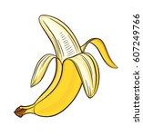 hand drawn pealed banana ... | Shutterstock .eps vector #607249766