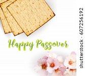 happy passover  vector... | Shutterstock .eps vector #607256192