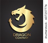 3d dragon circle gold logo | Shutterstock .eps vector #607257776