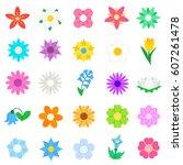 flowers icons set   Shutterstock .eps vector #607261478