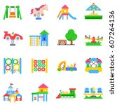 playground icons set. play area ... | Shutterstock .eps vector #607264136