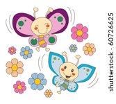 pink and blue butterflies...   Shutterstock . vector #60726625