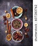 various kinds of dry tea.... | Shutterstock . vector #607283762