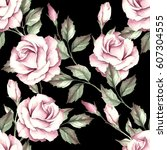 seamless pattern with roses.... | Shutterstock . vector #607304555