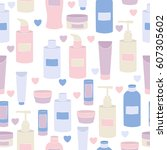 seamless vector pattern with... | Shutterstock .eps vector #607305602