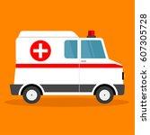 vector illustration ambulance... | Shutterstock .eps vector #607305728
