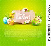cute easter greeting card with... | Shutterstock .eps vector #607310036