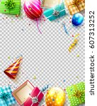 birthday balloons  gifts and... | Shutterstock .eps vector #607313252
