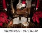santa claus come down the... | Shutterstock . vector #607316852