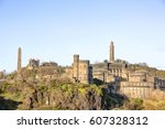 view of calton hill in... | Shutterstock . vector #607328312