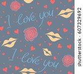 vector ornament  valentines day ...   Shutterstock .eps vector #607329692