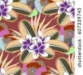 multicolor ornament of small...   Shutterstock .eps vector #607339745