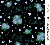 seamless pattern valentines day ...   Shutterstock .eps vector #607339772