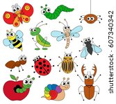 Stock vector cute small insects elements set collection of coloring book template the group of outline digital 607340342