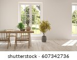 white dinner room with green... | Shutterstock . vector #607342736