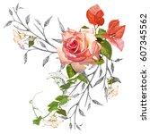 illustration of beautiful on... | Shutterstock . vector #607345562