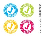 checked stamp labels | Shutterstock .eps vector #607349756