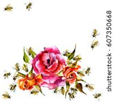 Red Rose And Summer Honey Bees...