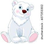very cute polar bear sitting | Shutterstock .eps vector #607353302