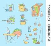 vector set sketch color... | Shutterstock .eps vector #607355072