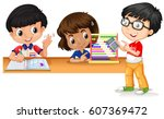 three kids using gadgets to... | Shutterstock .eps vector #607369472