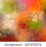 abstract colorful flower... | Shutterstock .eps vector #607370576