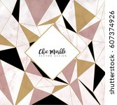 minimalistic trendy marble... | Shutterstock .eps vector #607374926
