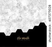 minimalistic trendy marble... | Shutterstock .eps vector #607375028
