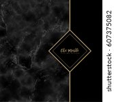 minimalistic trendy marble... | Shutterstock .eps vector #607375082