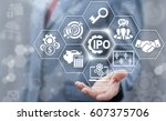 initial public offering service ... | Shutterstock . vector #607375706
