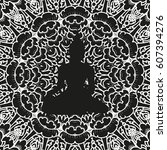 buddha seamless pattern.... | Shutterstock .eps vector #607394276