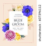 wedding invitation with flowers | Shutterstock .eps vector #607396112