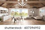minimalist mezzanine loft ... | Shutterstock . vector #607396952