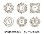 monogram logo and text badge... | Shutterstock .eps vector #607405226