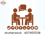 vector illustration people at a ... | Shutterstock .eps vector #607405538