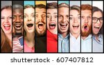 the collage of young women and...   Shutterstock . vector #607407812