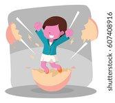 pink businesswoman hatching...   Shutterstock . vector #607408916