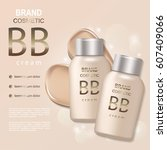 bb  tone skin cream bottle... | Shutterstock .eps vector #607409066