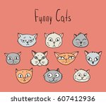 set of cartoon cats. funny... | Shutterstock .eps vector #607412936