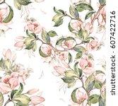 seamless pattern of flowering... | Shutterstock . vector #607422716