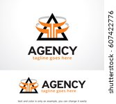abstract triangle logo template ... | Shutterstock .eps vector #607422776