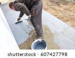 industrial worker on... | Shutterstock . vector #607427798