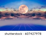 beauty sky with super moon and... | Shutterstock . vector #607427978