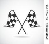 checkered flag  | Shutterstock .eps vector #607428446