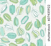 seamless floral pattern with... | Shutterstock . vector #607435922