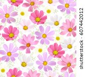 seamless natural pattern with... | Shutterstock .eps vector #607442012