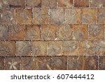 wooden blocks pavement texture. ... | Shutterstock . vector #607444412