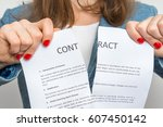 business woman tearing contract ... | Shutterstock . vector #607450142