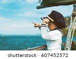 funny little baby captain on... | Shutterstock . vector #607452572