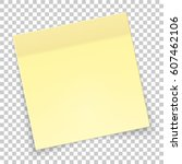 sticky piece of yellow paper...   Shutterstock .eps vector #607462106